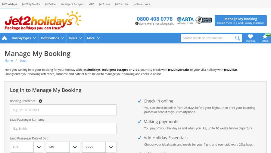Jet2 Holidays Manage My Booking