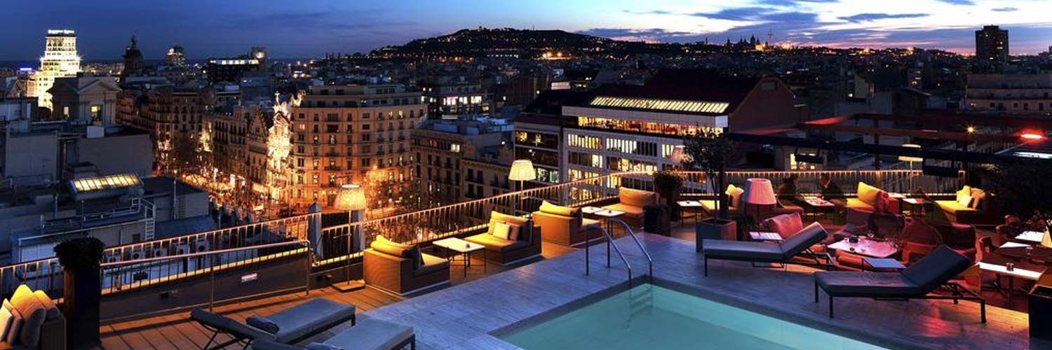 Barcelona Rooftop pool at sunset