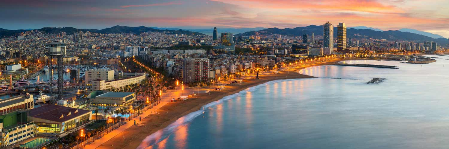 Barcelona view of coast at sunset